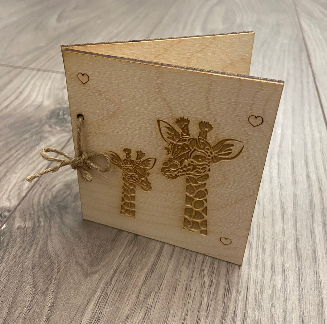Wooden personalised folding card - giraffe design