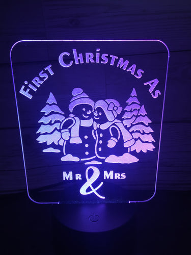 Snowman couple LED light up display- 9 colour options with remote! - Laser LLama Designs Ltd