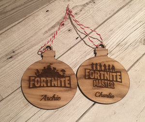 Fortnite oak veneer bauble - Laser LLama Designs Ltd