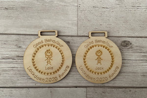 Wooden personalised good behaviour medal - Laser LLama Designs Ltd
