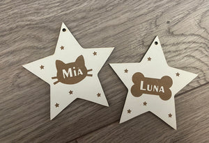 Wooden personalised cat/dog star bauble
