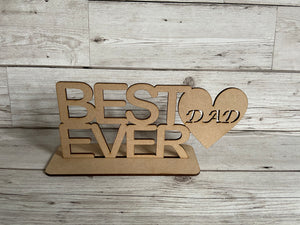 Wooden best dad ever plaque - Laser LLama Designs Ltd