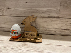 Kinder egg  oak veneer personalised bunny holder - Laser LLama Designs Ltd