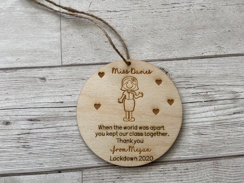Wooden personalised teacher plaque -lockdown 2020 - Laser LLama Designs Ltd