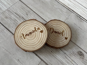 Personalised Natural Wood Slices Name Place Setting - Laser LLama Designs Ltd