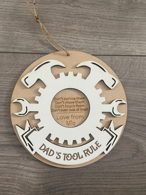 Wooden tool rule personalised plaque