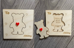 Wooden personalised Valentine's Day  card
