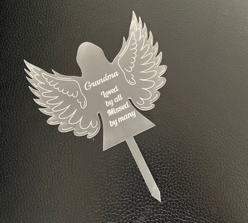 Memorial grave marker angel shape - Laser LLama Designs Ltd