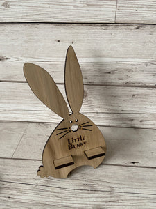 Oak Venner bunny phone holder - Laser LLama Designs Ltd