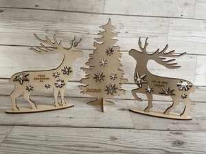 Personalised freestanding deer couple and tree - Laser LLama Designs Ltd