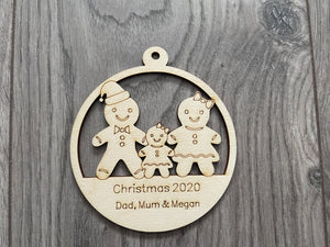 Wooden personalised gingerbread family bauble - Laser LLama Designs Ltd