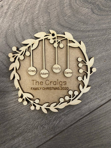 Personalised 3d family Christmas wreath bauble