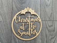 Load image into Gallery viewer, Wooden personalised Christmas hoop - Laser LLama Designs Ltd