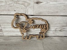 Load image into Gallery viewer, Wooden personalised sheep shape - Laser LLama Designs Ltd