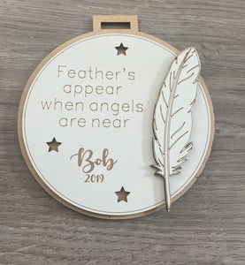 Wooden personalised 2 layered bauble with feather