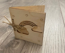 Load image into Gallery viewer, Wooden personalised folding card -4 designs