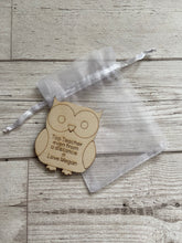 Load image into Gallery viewer, Wooden personalised owl in the bag - Laser LLama Designs Ltd