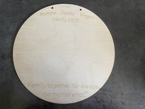 Wooden personalised circle plaque for hand prints - Laser LLama Designs Ltd