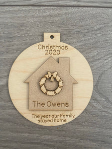 Wooden personalised home bauble Christmas 2020