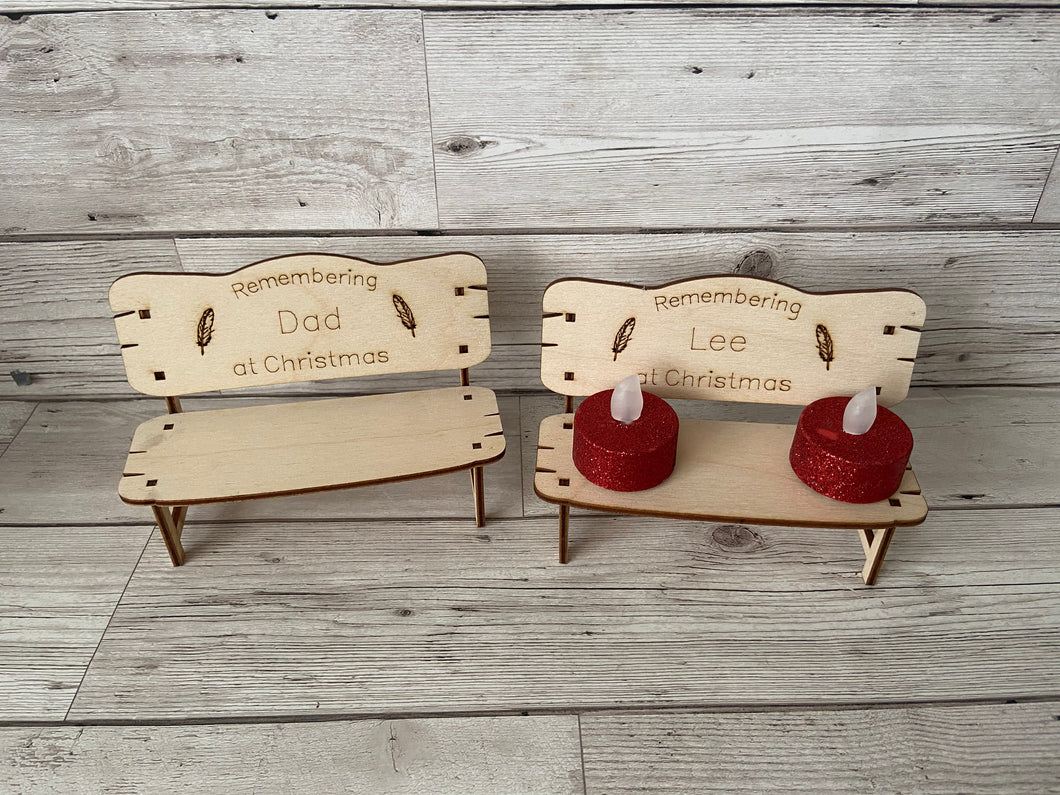 "Wooden birch bench ""remembering at Christmas """