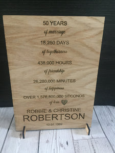 Oak veneer freestanding wedding anniversary plaque - Laser LLama Designs Ltd