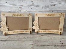 Load image into Gallery viewer, Personalised wooden first Christmas photo frame