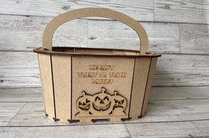 Wooden mdf personalised trick or treat  bucket