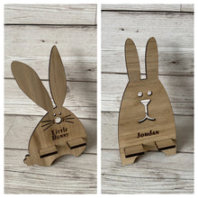 Load image into Gallery viewer, Oak Venner bunny phone holder - Laser LLama Designs Ltd