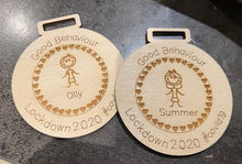 Load image into Gallery viewer, Wooden personalised good behaviour medal - Laser LLama Designs Ltd