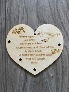 Wooden robin heart bauble