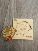 Load image into Gallery viewer, Wooden personalised engraved 3d rose card