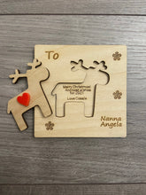 Load image into Gallery viewer, Wooden personalised 3d reindeer card