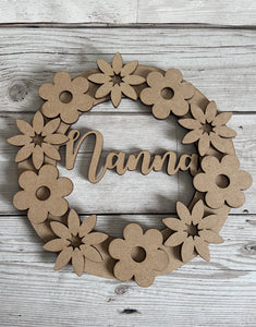 Floral name wreath - Laser LLama Designs Ltd