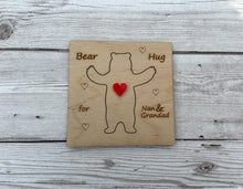 Load image into Gallery viewer, Wooden personalised 3D bear hug card - Laser LLama Designs Ltd