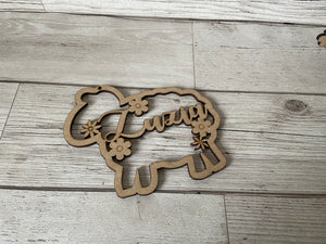 Wooden personalised sheep shape - Laser LLama Designs Ltd
