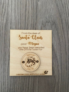 Wooden personalised card with token - from Santa