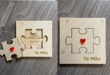 Load image into Gallery viewer, Wooden personalised Valentine's Day  card