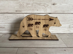 Oak veneer personalised bear freestanding plaque - Laser LLama Designs Ltd