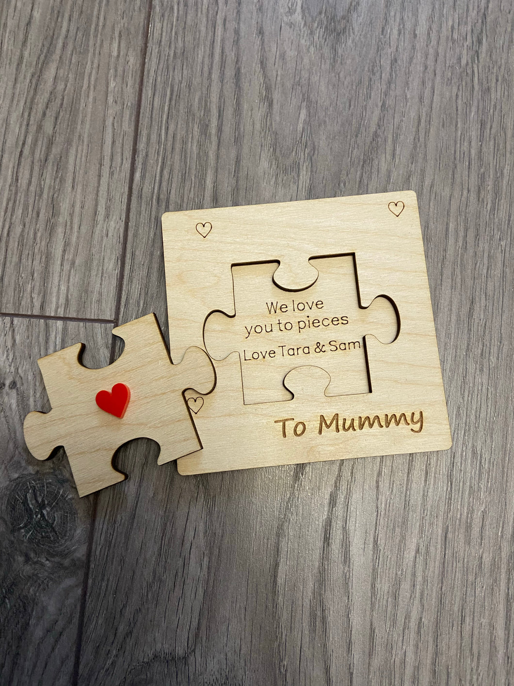 Wooden personalised 3d card Mother's day