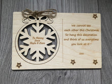 Load image into Gallery viewer, Wooden personalised card with tree bauble decoration