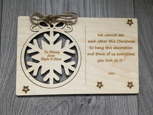 Wooden personalised card with tree bauble decoration