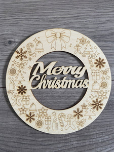 Wooden Merry Christmas wreath