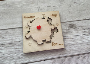 Wooden personalised 3D monster card - Laser LLama Designs Ltd