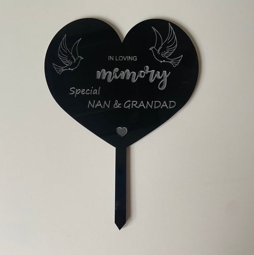 Memorial grave marker heart shape with doves - Laser LLama Designs Ltd