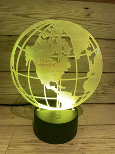 Light up 3D Globe display. 9 Colour options with remote! - Laser LLama Designs Ltd