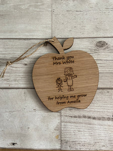 Oak veneer personalised Apple teacher and I - Laser LLama Designs Ltd