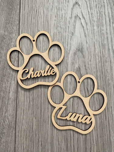 Wooden mdf dog paw bauble