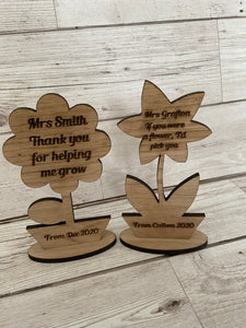 Oak veneer personalised flower teacher decorations - Laser LLama Designs Ltd