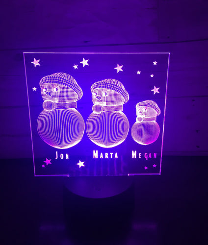 Snowman family LED light up display- 9 colour options with remote - Laser LLama Designs Ltd