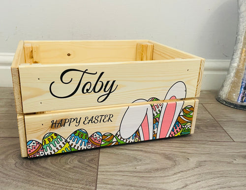 Wooden personalised bunny ears Easter crate